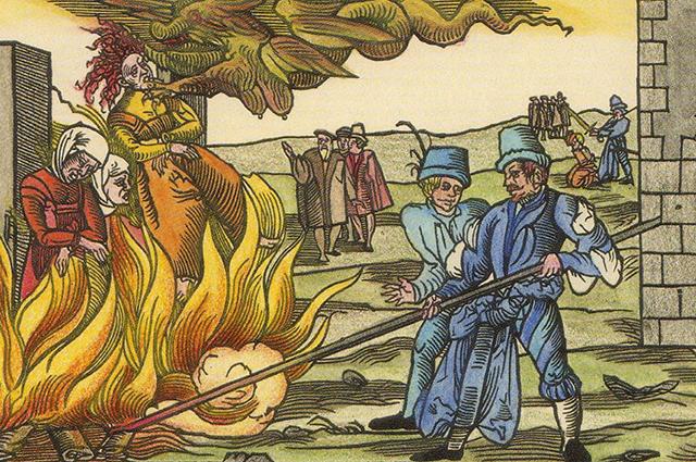 Сжигание ведьм в у замка Рейнштейн (близ г. Бланкенбург). 1555 г.