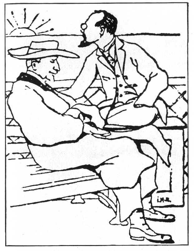 Профессор И. А. Ильин и князь С. Е. Трубецкой. Рисунок И. А. Матусевича, сделанный на борту парохода, плывущего в Германию. 1922 год.