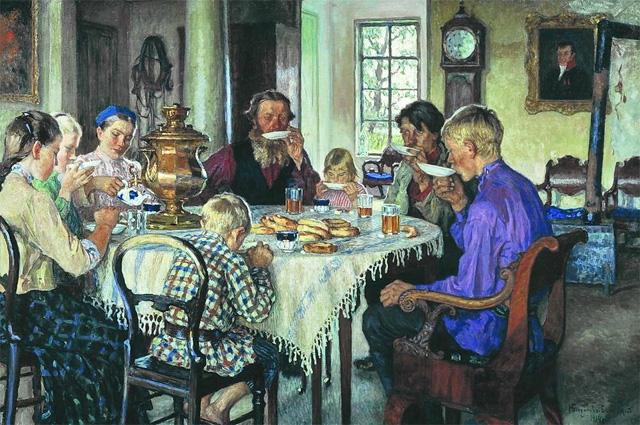 Н.П. Богданов-Бельский. «Чаепитие, или Новые хозяева»