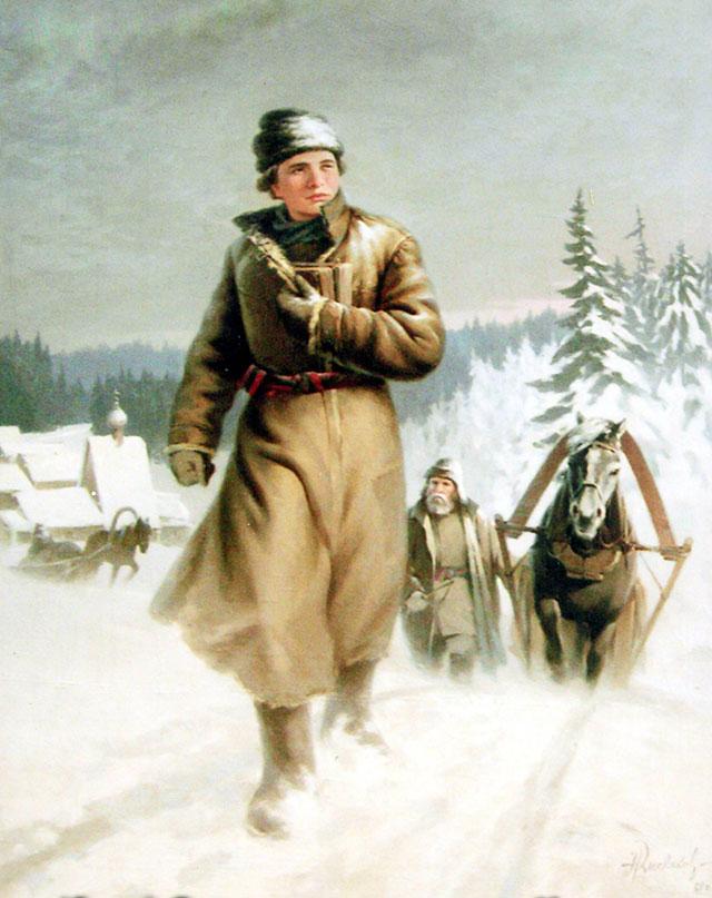 «Юноша Ломоносов на пути в Москву»,Николай Кисляков, 1948 г.