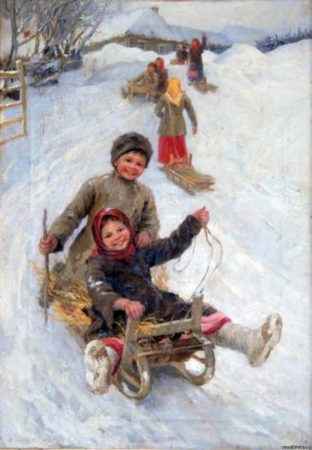 Детвора летела с горы на катульках, корежках и санях.