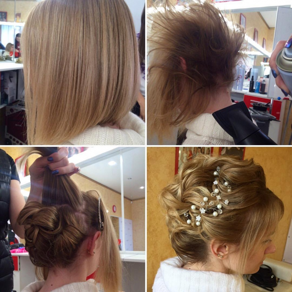 Красивую причёску можно создать даже на коротких волосах.