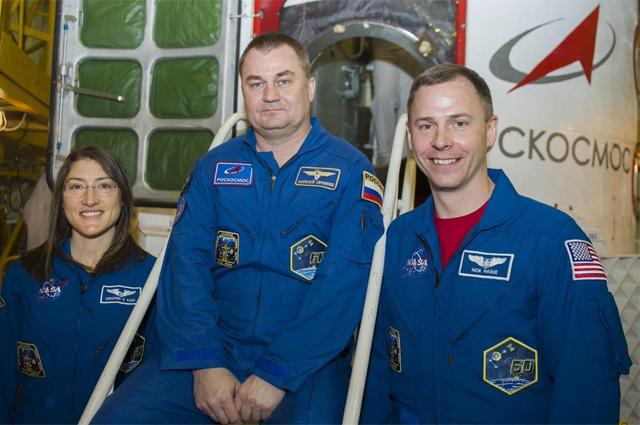 Алексей Овчинин и астронавты NASA Ник Хейг и Кристина Кук.