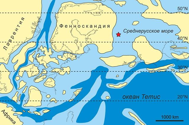 Палеогеография Европы на рубеже средней и верхней юры (около 163 миллионов лет назад). Звездочкой показано местонахождение Пески.