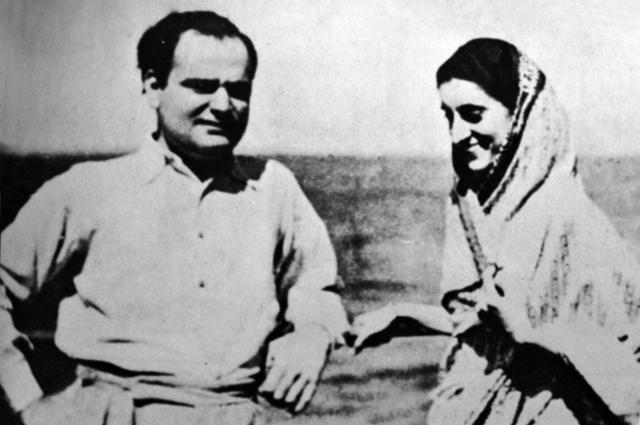 Индира Ганди с мужем Ферозе Ганди.