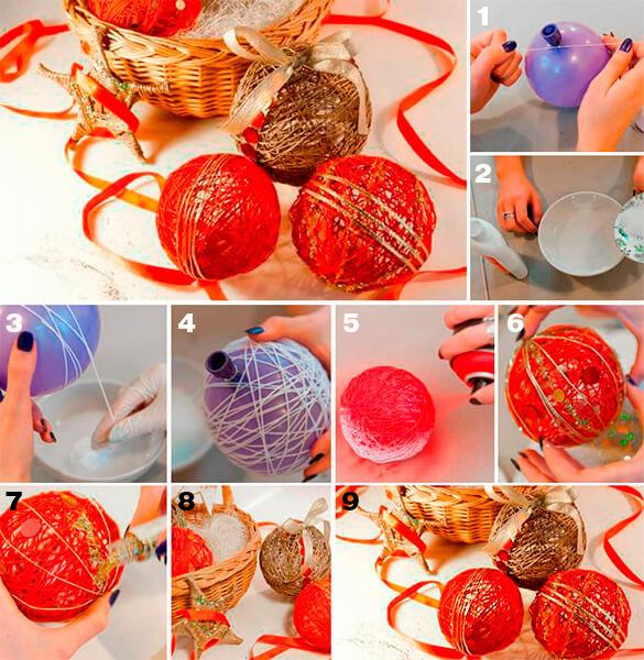 Делать новогодний шар из ниток — простой и увлекательный процесс.