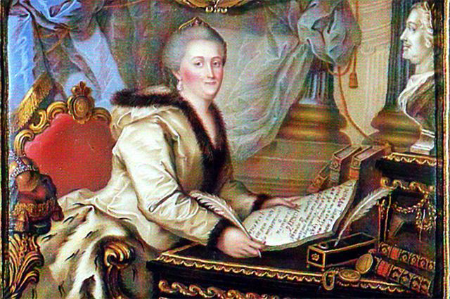 Екатерина Великая с текстом «Наказа» в руках