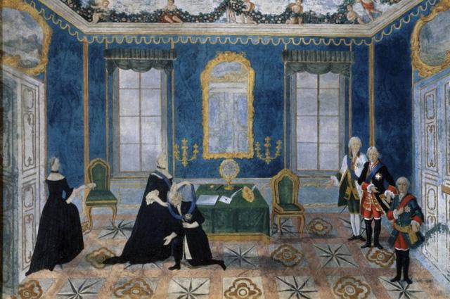 Возвращение графа Бестужева из ссылки. Екатерина II принимает его 12 июля 1762 года в петербургском Летнем дворце