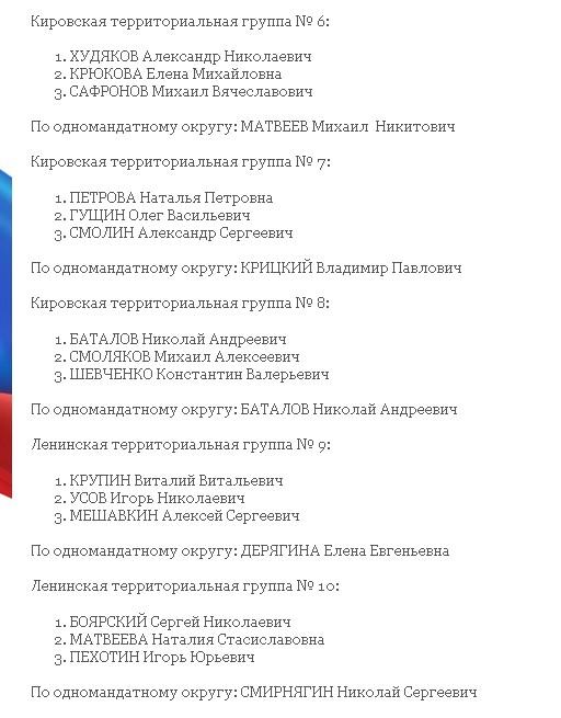 Список кандидатов в Гордуму Екатеринбурга от ЕР