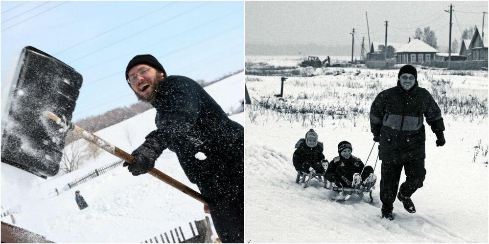 Игорю Кондратьеву в деревне и зимой живётся радостно и светло: снег разчис- тить и деток на санках покатать - никаких проблем.