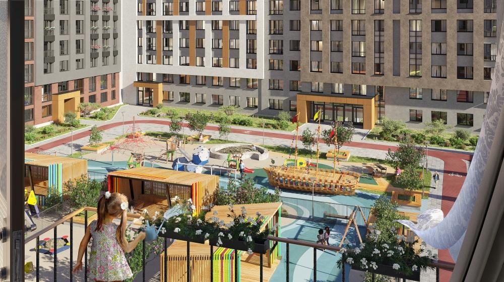 Такой огромный двор будет в каждом квартале. Детям не придётся «делиться» песочницей - места хватит всем.