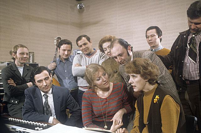 Анна Герман в студии грамзаписи Мелодия . 1975 год