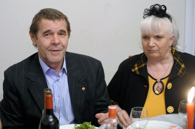Актер Алексей Булдаков с супругой в Культурном центре Виторгана на вечере, посвященном 70-летнему юбилею Эммануила Виторгана.