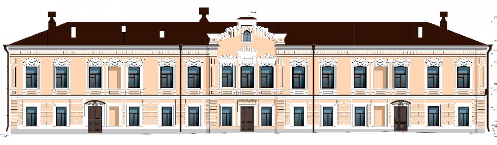 Лицевая часть фасада Дома купца Ижболдиных после реставрации.