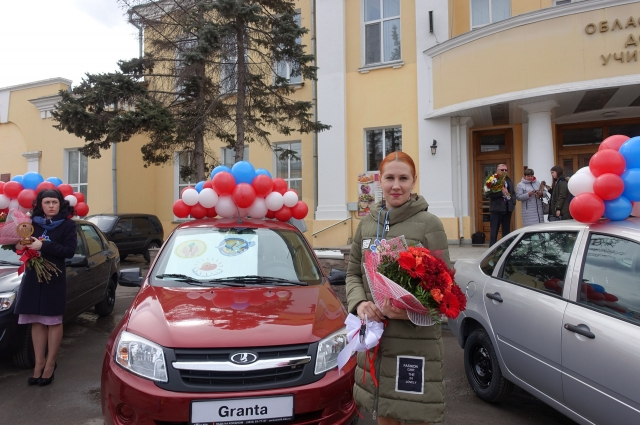 Ольга и её приз - автомобиль.