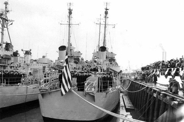 Перевод эскортного миноносца Eldridge в Греческий королевский военно-морской флот, 15 января 1951 года, Бостон, штат Массачусетс.