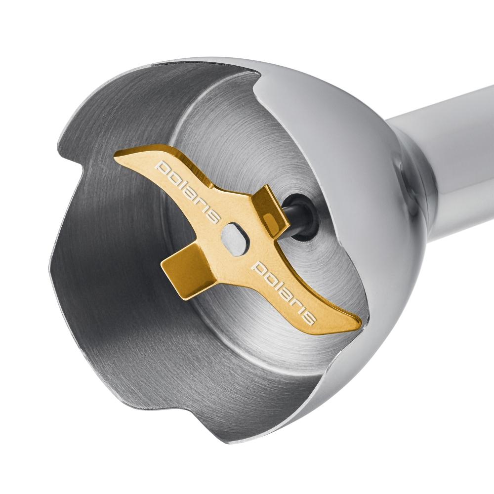 Блендер оборудован 4-лепестковым ножом с титановым покрытием «4 PRO TITAN». Оно позволяет ему сохранить прочность и остроту на долгие годы.
