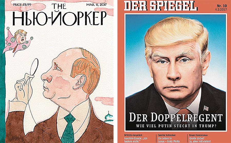 На Западе обсуждают отношения США и РФ: известный нью-йоркский журнал вышел с названием, набранным кириллицей, а немецкий - с подписью: «Двойной правитель. Сколько Путина в Трампе?».