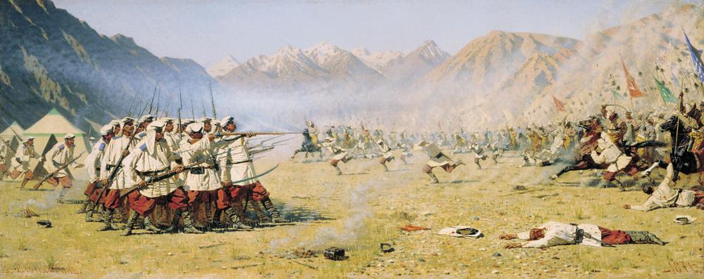 Василий Верещагин «Нападают врасплох!», 1871 г. «Туркестанская серия».