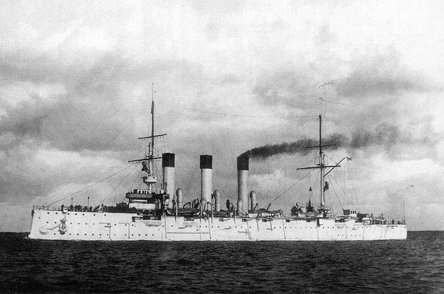 Крейсер Аврора на испытаниях 14 июня 1903 года