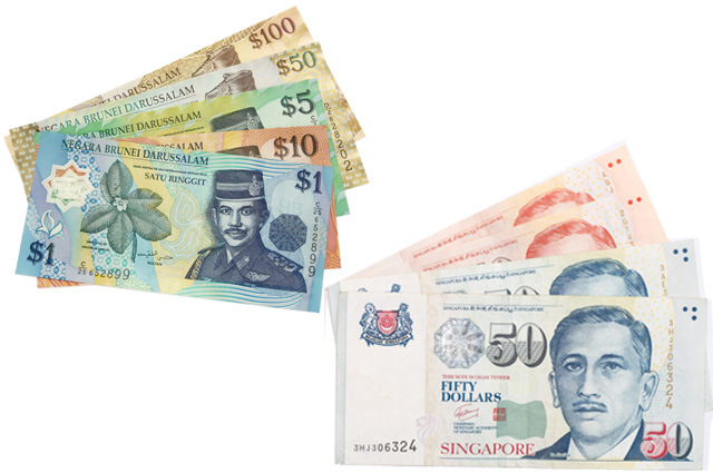 Брунейский доллар и сингапурский доллар