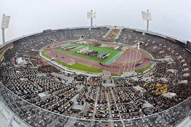 Церемония открытия XXII Олимпийских игр наЦентральном стадионеим. В.И.Ленина вЛужниках. 1980 год.