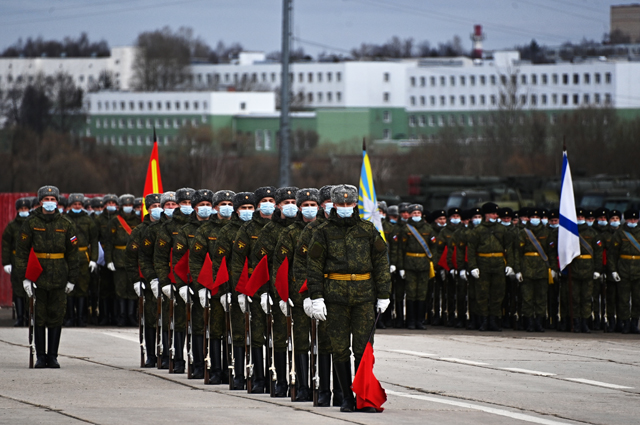 Репетиция военного парада, приуроченного к 76-летию Победы в Великой Отечественной войне, в подмосковном Алабино.