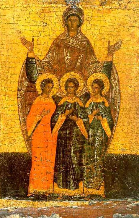 Вера, Надежда, Любовь и их мать София. Новгородская икона (XVI век)