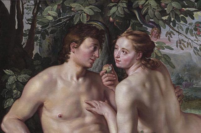 Адам и Ева. Картина Грехопадение Хендрика Гольциуса, 1616 г
