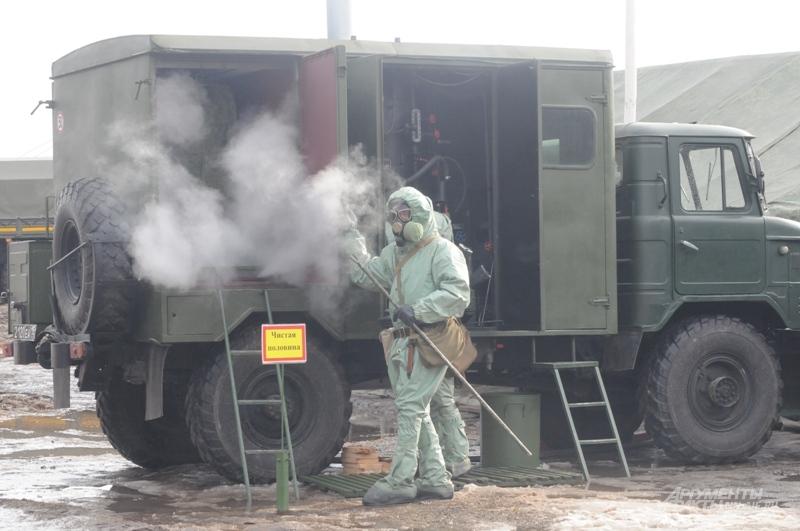 пункт специальной обработки техники и помывки личного состава от радиационного загрязнения.