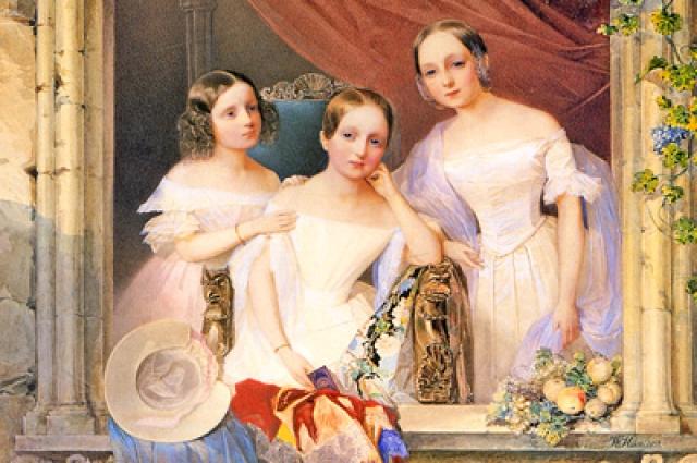 Дочери великого князя Михаила Павловича и великой княгини Елены Павловны — Екатерина (1827-1894), Елизавета (1826-1846) и Мария (1825-1846).