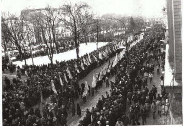 Живая цепь во Львове, 21 января 1990 г.