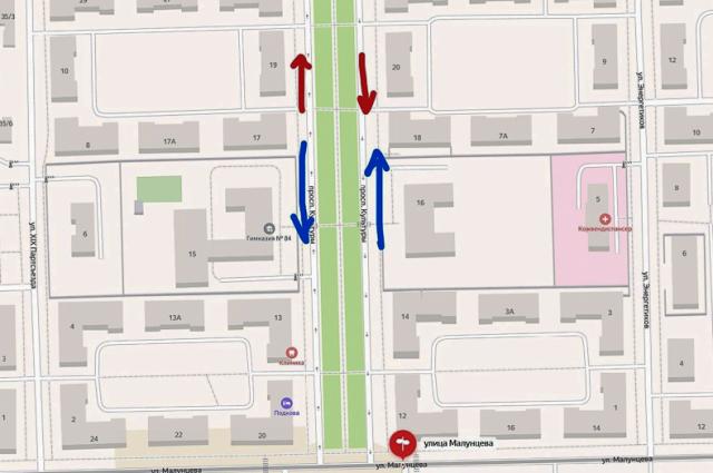 Направления движения, действующие в настоящее время, указаны на схеме красным цветом, планируемое направление указано синим.