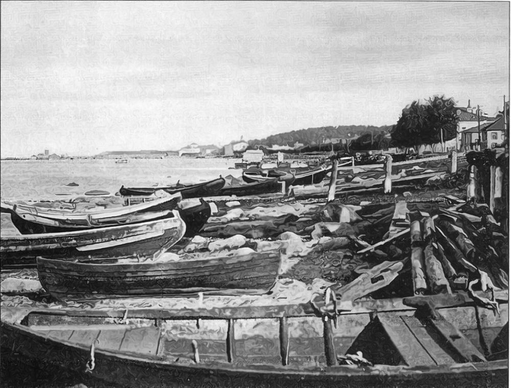 Лодки на Владимирской (Онежской) набережной всегда были готовы к буксировке любого плавника. Дореволюционная открытка.