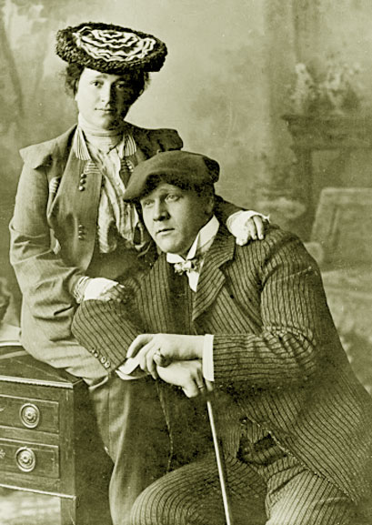 Федор Шаляпин с женой Иолой Игнатьевной Торнаги. 1903 год. Нижний Новгород. Репродукция