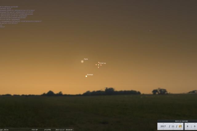Венера, Юпитер и Луна выстроятся в равносторонний треугольник в восточной части неба над Уралом.