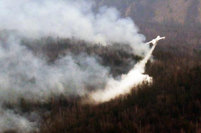 Пожары в труднодоступных местах тушат с помощью аваиации.