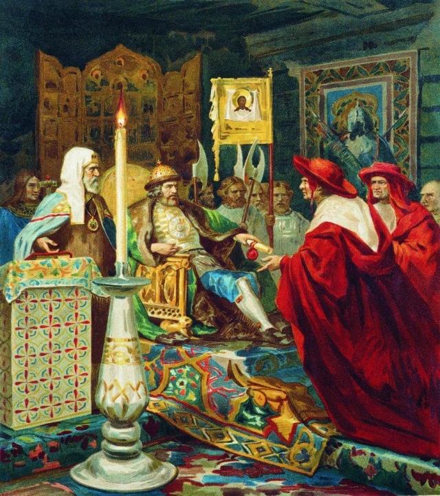 «Князь Александр Невский принимает папских легатов», Генрих Семирадский, 1876 г.