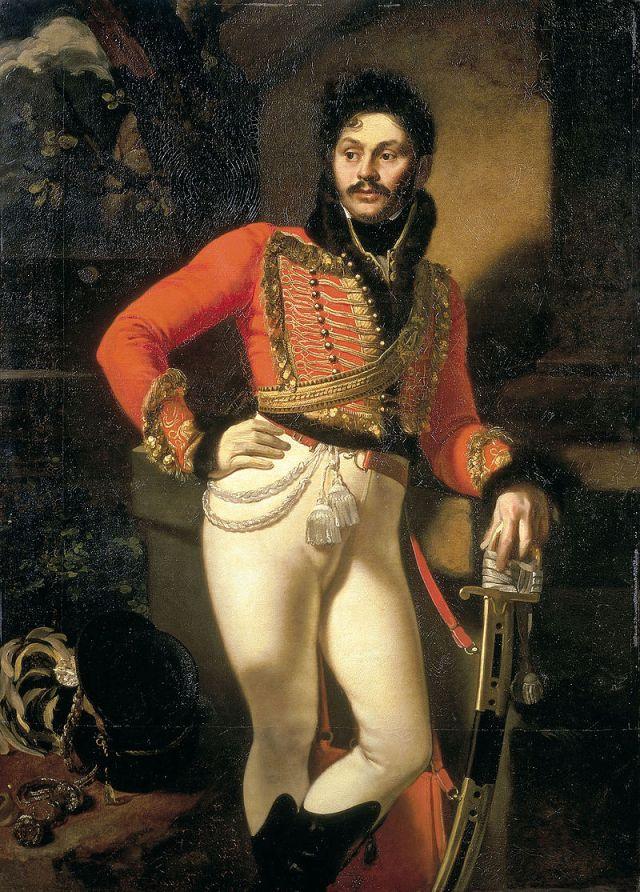 Портрет лейб-гусарского полковника Е. В. Давыдова. 1809.