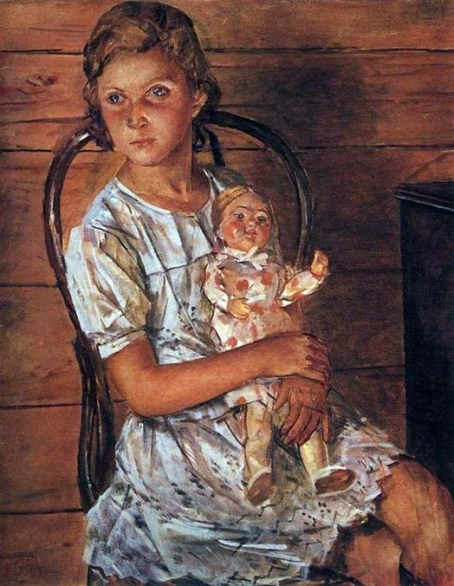 Когда Тане было 9, художник Петров-Водкин написал ее портрет.