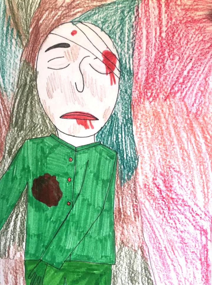Солдат погиб, рисунок Александры Аликиной, 10 лет.