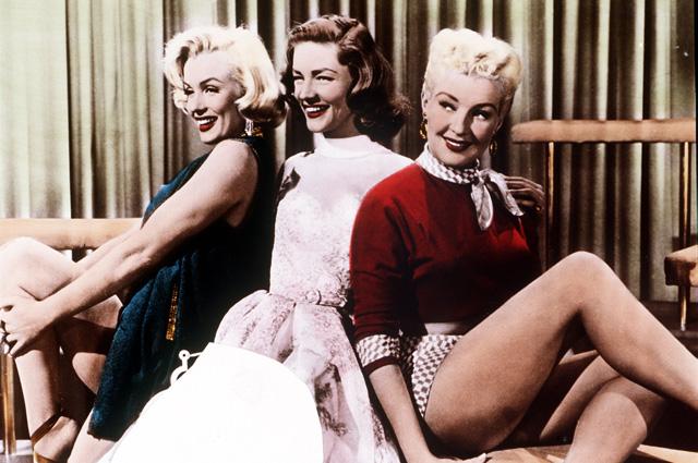 Мэрилин Монро, Лорен Бэколл и Бетти Грэйбл в фильме Как выйти замуж за миллионера . 1953 год