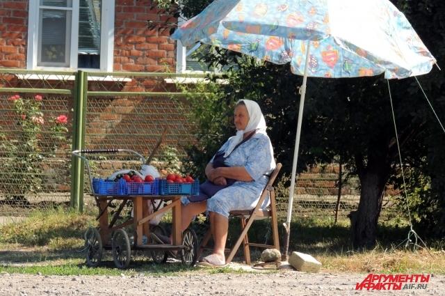 Некоторые станичники продают излишки выращенного в огороде прямо возле дворов, хотя покупателей утром не видно.