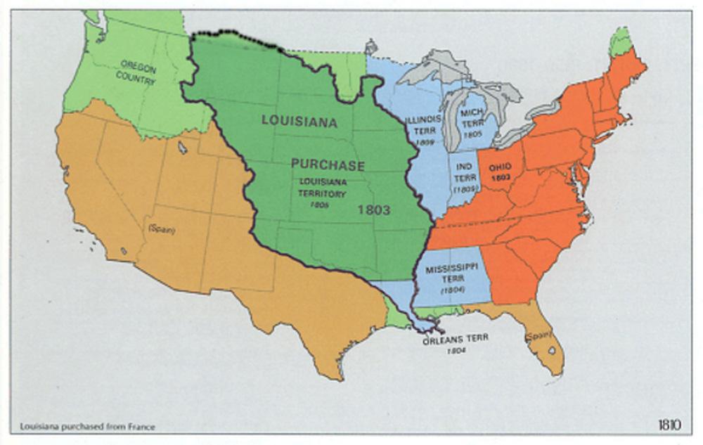 Земли, приобретённые США в рамках Луизианской покупки.