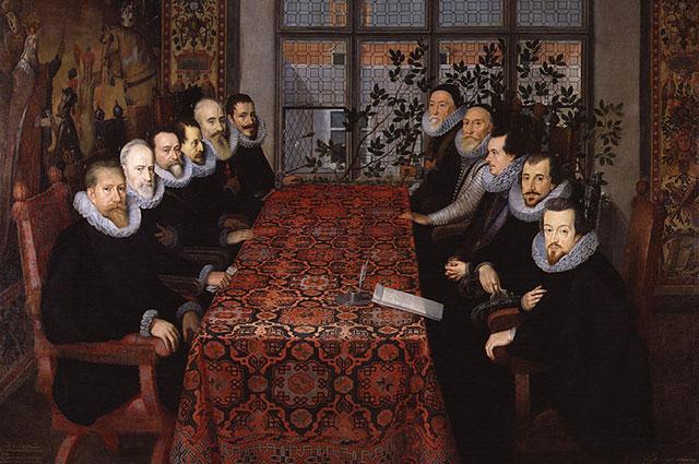 Мирные переговоры испанской и британской делегации. Картина неизвестного художника.