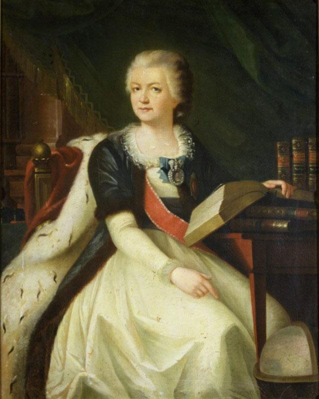 Парадный портрет Воронцовой-Дашковой изображает её рядом с книгами, намекая на учёность