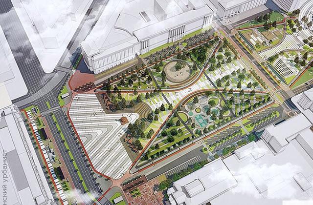 Проект реконструкции площади. Вид сверху.
