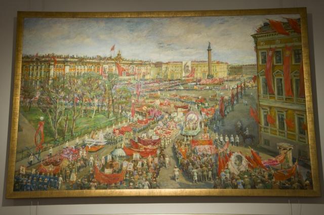 Василий Викулов «Демонстрация на площади Урицкого», 1937