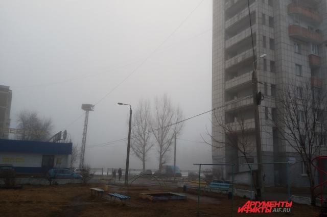 Туман в Краснокамске утром 12 апреля.