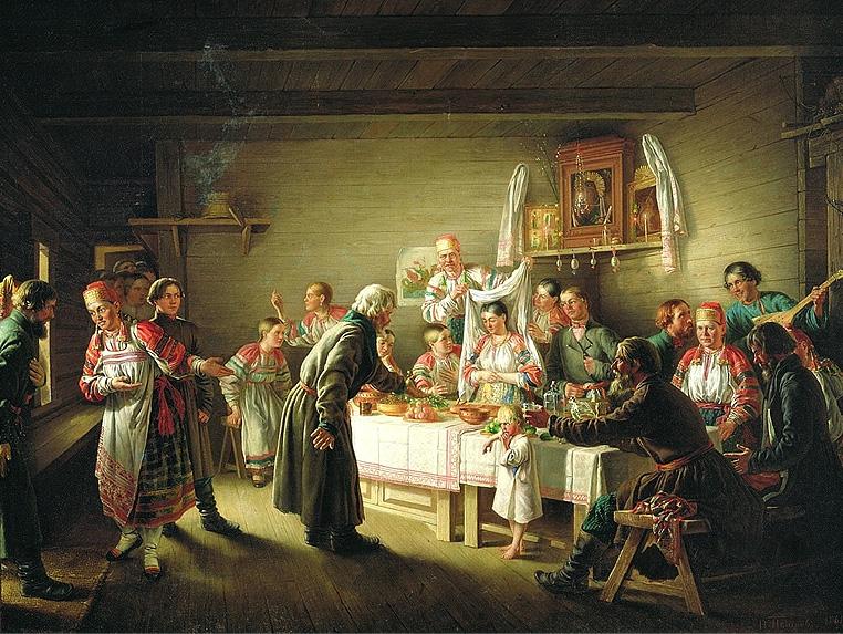Смотрины невесты. Н. П. Петров, 1861 год